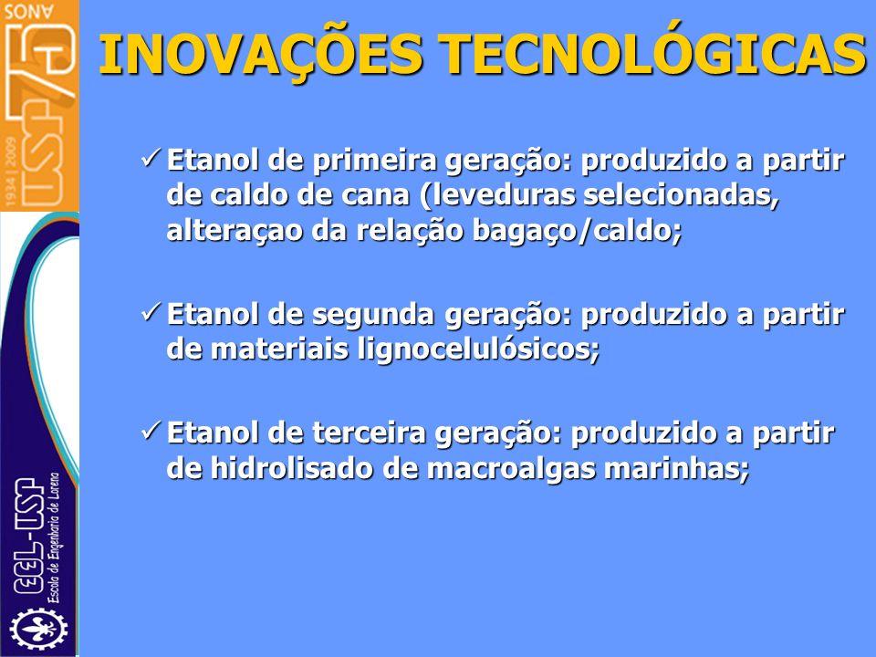 Etanol de primeira geração: produzido a partir de caldo de cana (leveduras selecionadas, alteraçao da relação bagaço/caldo; Etanol de primeira geração