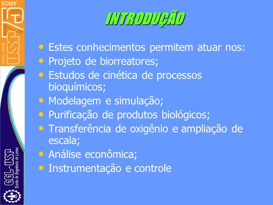 INTRODUÇÃO Estes conhecimentos permitem atuar nos: Projeto de biorreatores; Estudos de cinética de processos bioquímicos; Modelagem e simulação; Purif