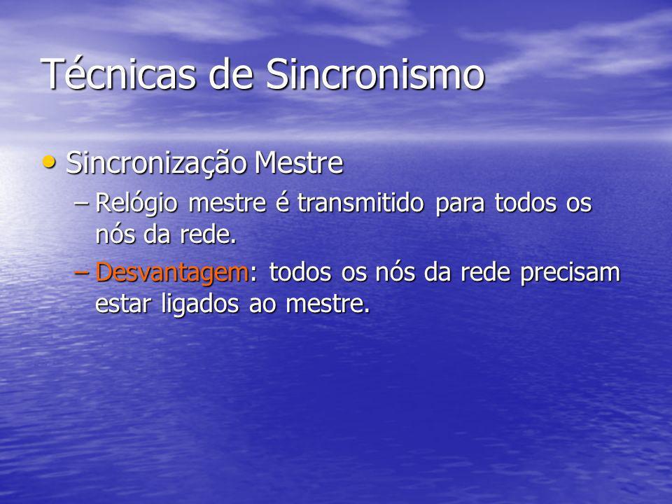 Técnicas de Sincronismo Sincronização Mestre Sincronização Mestre –Relógio mestre é transmitido para todos os nós da rede. –Desvantagem: todos os nós