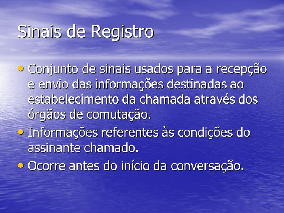 Sinais de Registro Conjunto de sinais usados para a recepção e envio das informações destinadas ao estabelecimento da chamada através dos órgãos de co