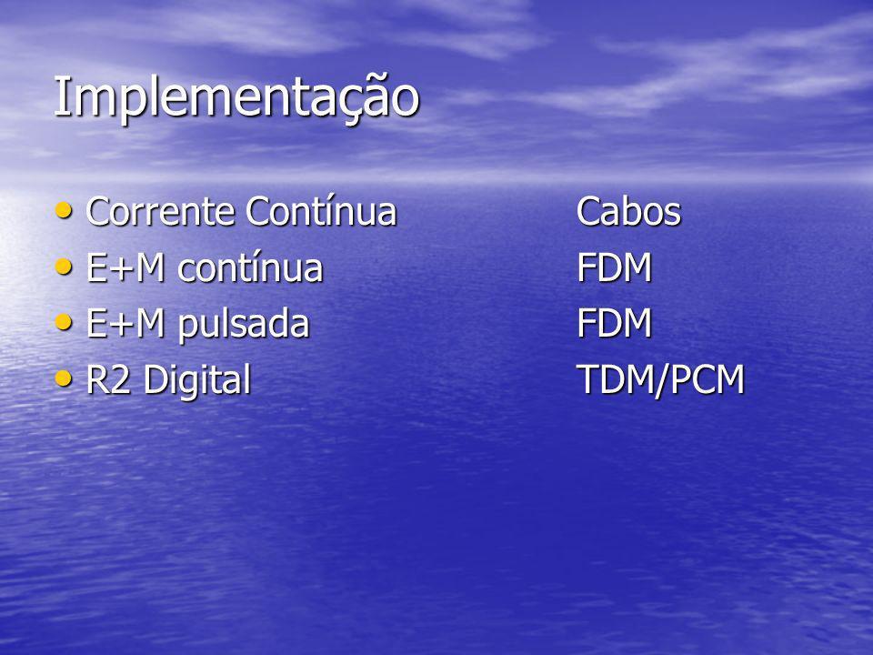 Implementação Corrente ContínuaCabos Corrente ContínuaCabos E+M contínuaFDM E+M contínuaFDM E+M pulsadaFDM E+M pulsadaFDM R2 DigitalTDM/PCM R2 Digital