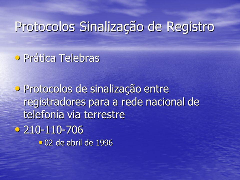 Protocolos Sinalização de Registro Prática Telebras Prática Telebras Protocolos de sinalização entre registradores para a rede nacional de telefonia v
