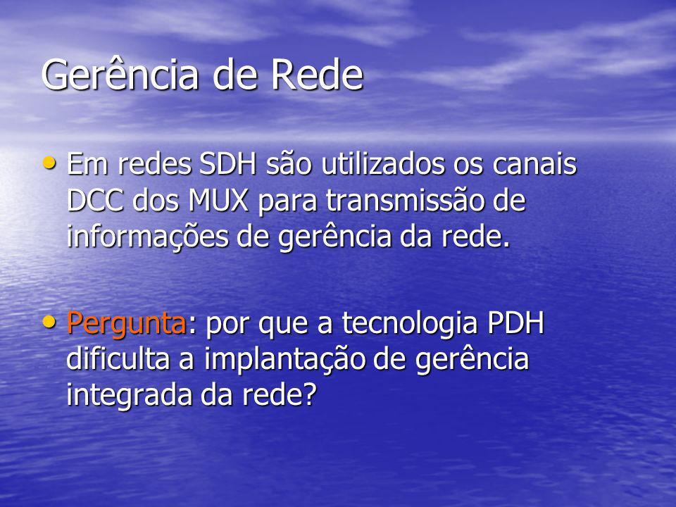 Gerência de Rede Em redes SDH são utilizados os canais DCC dos MUX para transmissão de informações de gerência da rede. Em redes SDH são utilizados os