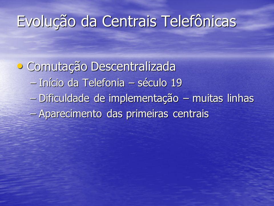 Evolução da Centrais Telefônicas Comutação Descentralizada Comutação Descentralizada –Início da Telefonia – século 19 –Dificuldade de implementação –