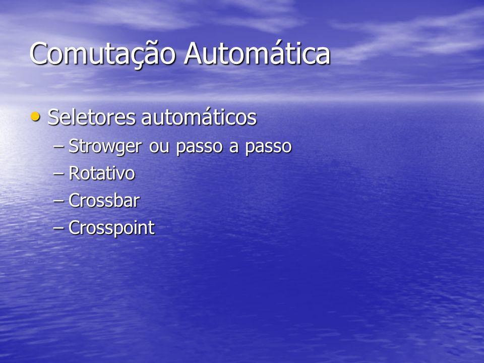 Comutação Automática Seletores automáticos Seletores automáticos –Strowger ou passo a passo –Rotativo –Crossbar –Crosspoint