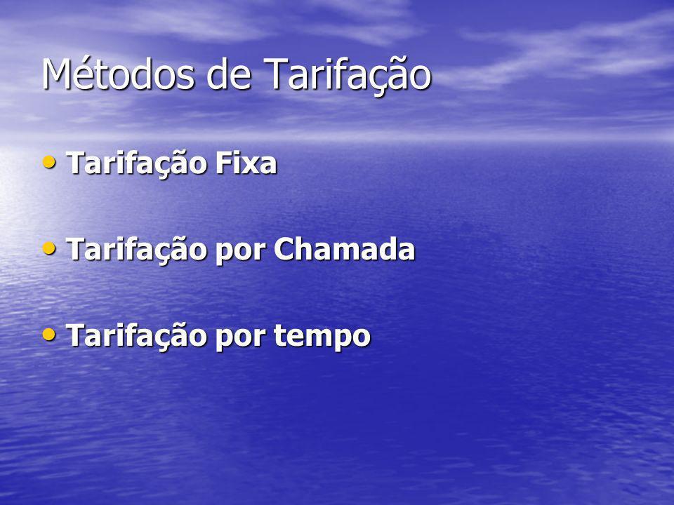 Métodos de Tarifação Tarifação Fixa Tarifação Fixa Tarifação por Chamada Tarifação por Chamada Tarifação por tempo Tarifação por tempo