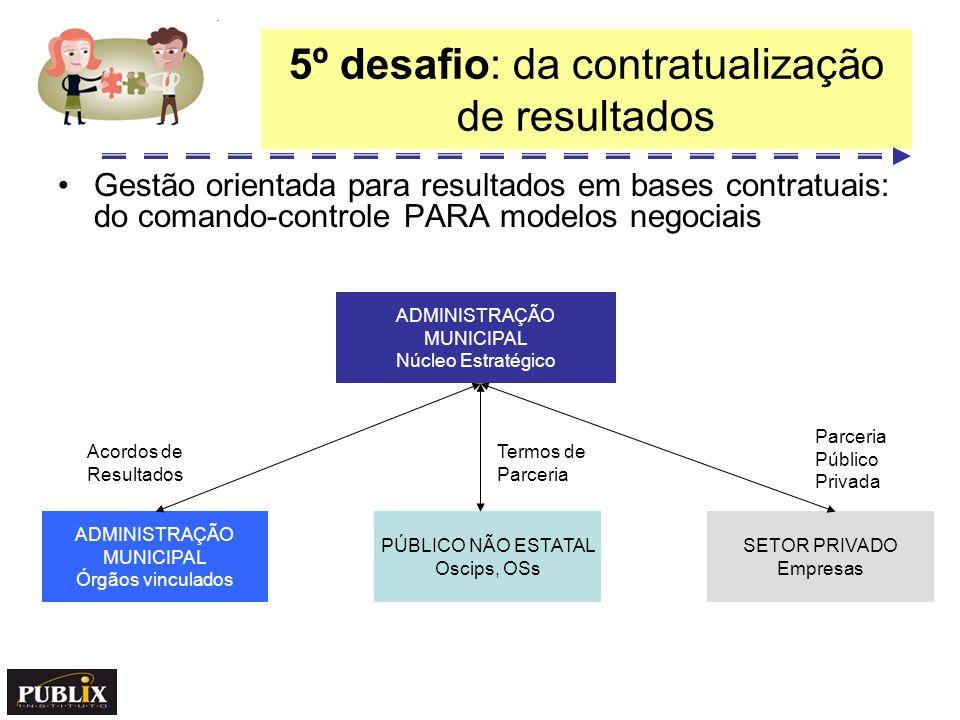 5º desafio: da contratualização de resultados Gestão orientada para resultados em bases contratuais: do comando-controle PARA modelos negociais ADMINI