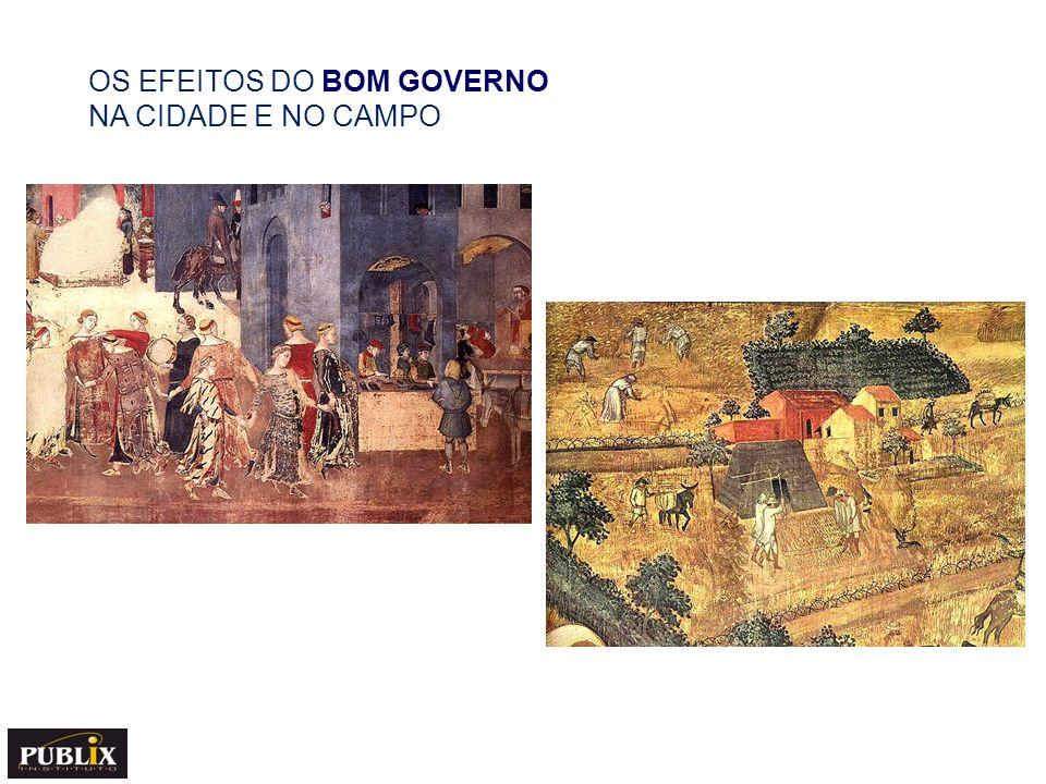 MAU GOVERNO NOS AFRESCOS DE AMBROGIO LORENZETTI (Século XIV) O tirano diabólico,um príncipe do mal, usa capa dourada (cor da falsidade) que indica a presença do mal.