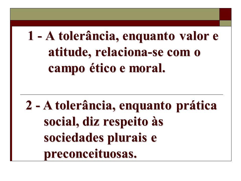 Esclarecimentos iniciais... Tolerância: uma palavra polissêmica. Existe uma injusta recusa ao termo. Tolerância, entre duas lógicas: Indiferença? Valo