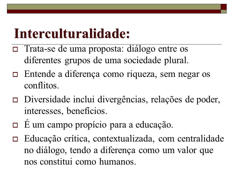 Multiculturalismo: Trata-se de uma constatação: vivemos em sociedades plurais. A diferença vista como problema: sociedades plurais e preconceituosas.