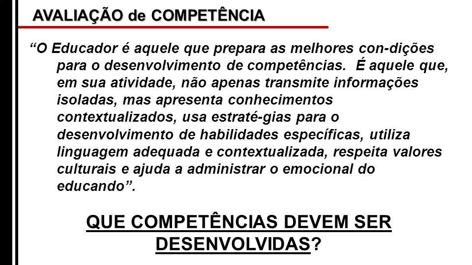 AVALIAÇÃO de COMPETÊNCIA O Educador é aquele que prepara as melhores con-dições para o desenvolvimento de competências. É aquele que, em sua atividade