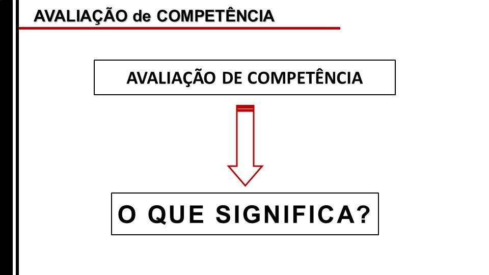 AVALIAÇÃO de COMPETÊNCIA O QUE SIGNIFICA? AVALIAÇÃO DE COMPETÊNCIA