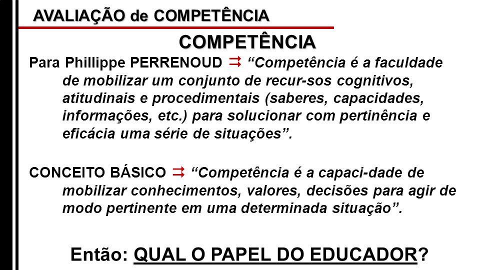 AVALIAÇÃO de COMPETÊNCIA Para Phillippe PERRENOUD Competência é a faculdade de mobilizar um conjunto de recur-sos cognitivos, atitudinais e procedimen