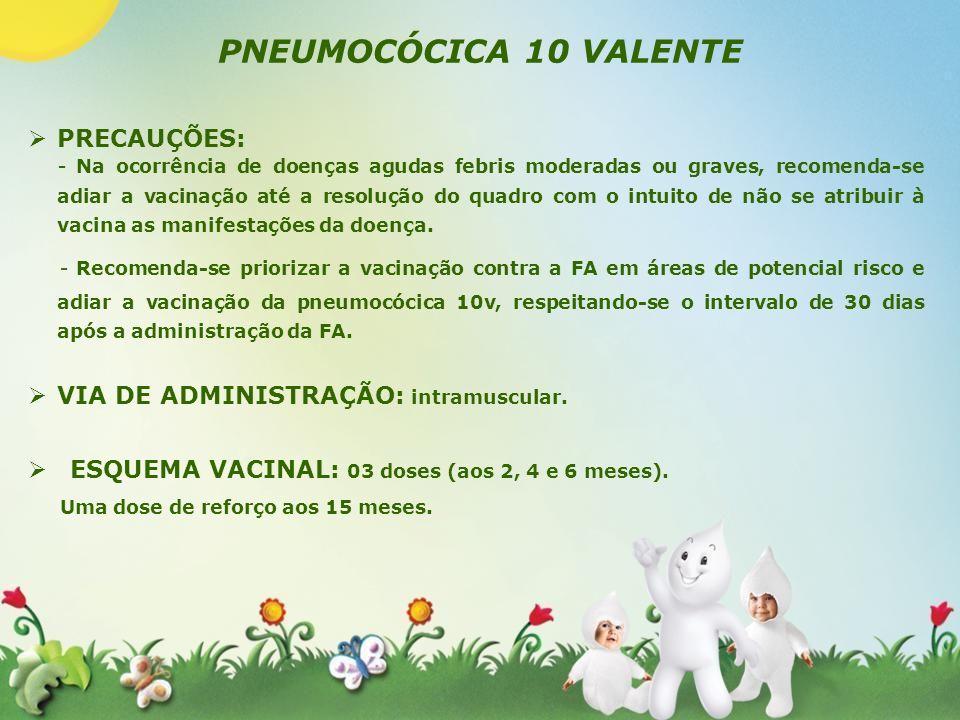 PNEUMOCÓCICA 10 VALENTE PRECAUÇÕES: - Na ocorrência de doenças agudas febris moderadas ou graves, recomenda-se adiar a vacinação até a resolução do qu