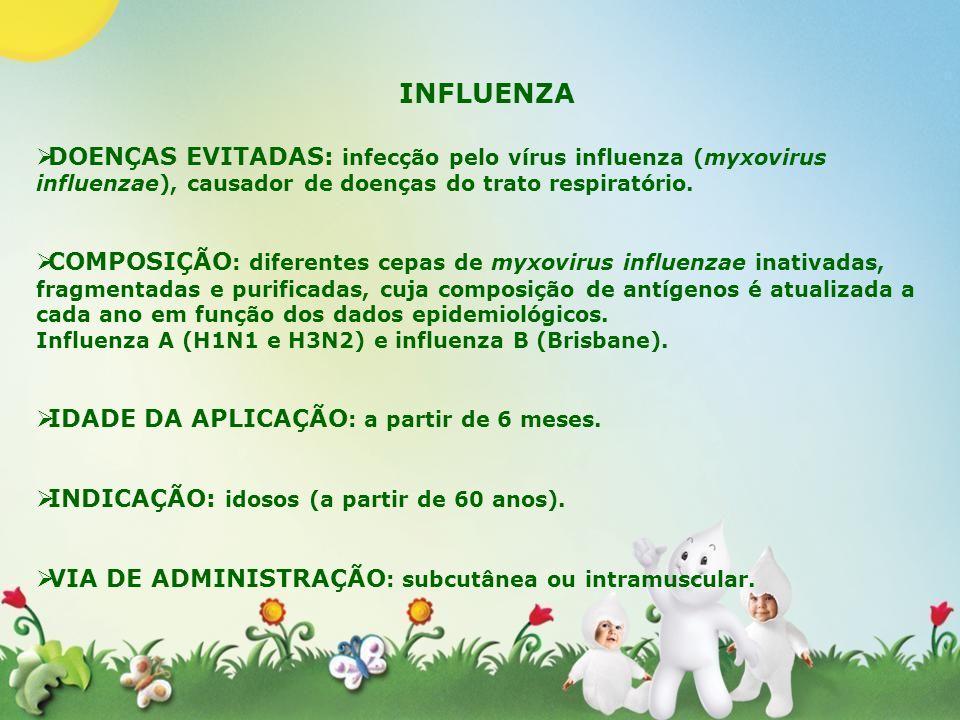 INFLUENZA DOENÇAS EVITADAS: infecção pelo vírus influenza (myxovirus influenzae), causador de doenças do trato respiratório. COMPOSIÇÃO : diferentes c