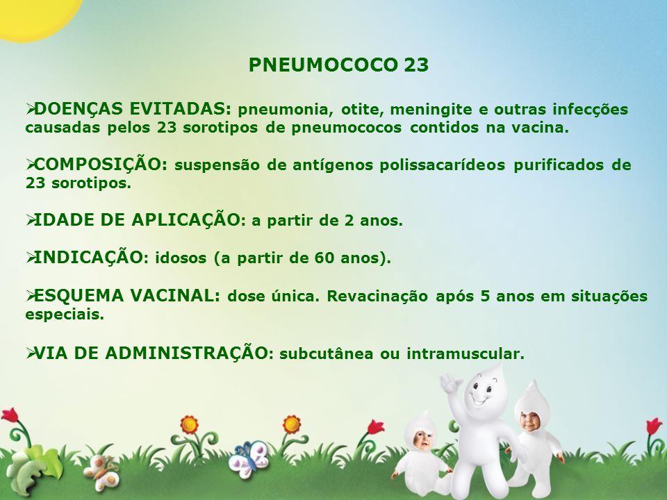 PNEUMOCOCO 23 DOENÇAS EVITADAS: pneumonia, otite, meningite e outras infecções causadas pelos 23 sorotipos de pneumococos contidos na vacina. COMPOSIÇ