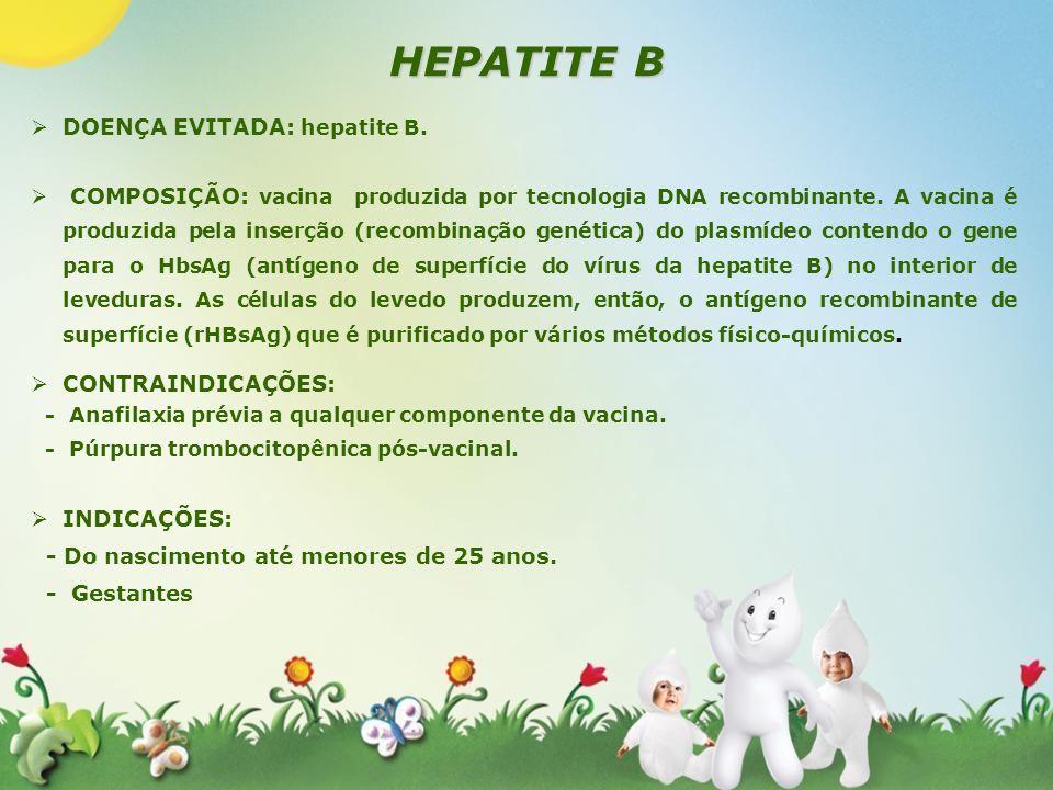 HEPATITE B DOENÇA EVITADA: hepatite B. COMPOSIÇÃO: vacina produzida por tecnologia DNA recombinante. A vacina é produzida pela inserção (recombinação