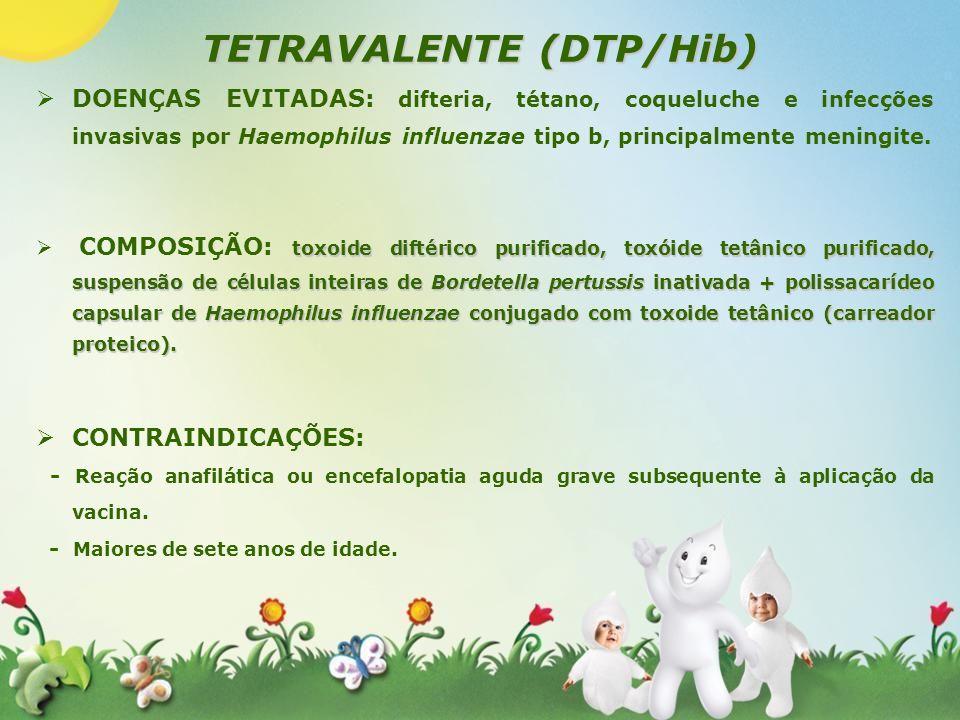 TETRAVALENTE (DTP/Hib) DOENÇAS EVITADAS: difteria, tétano, coqueluche e infecções invasivas por Haemophilus influenzae tipo b, principalmente meningit