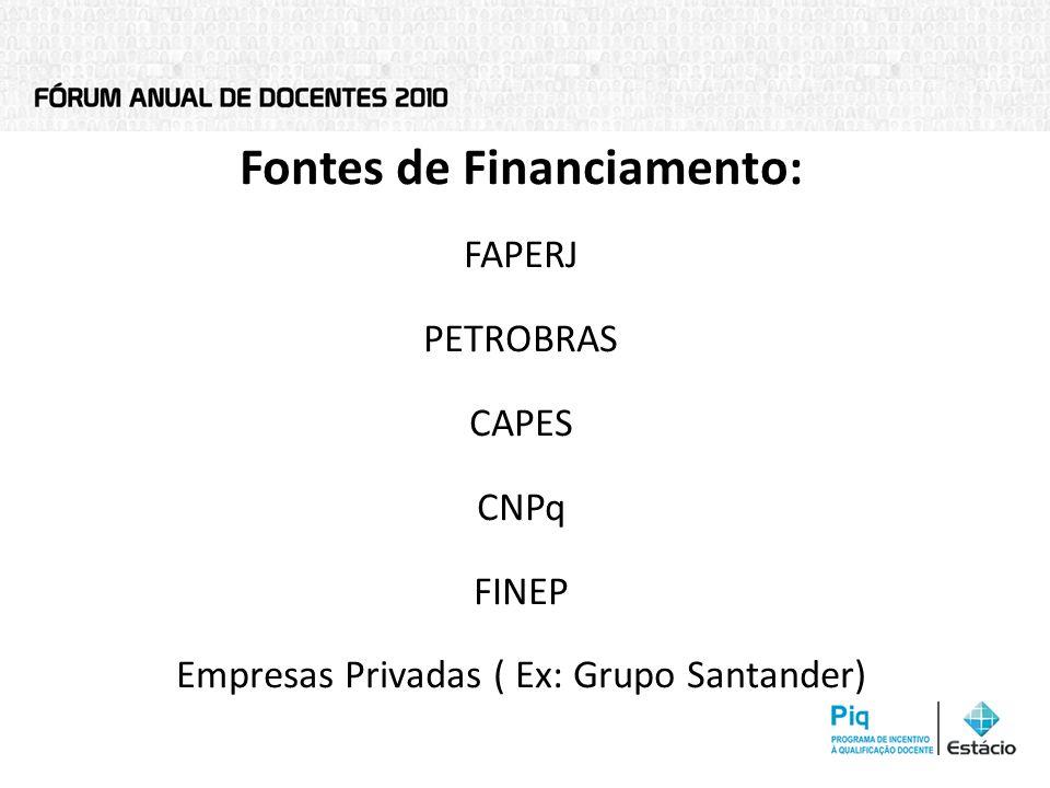 Tipos de financiamento Editais Auxílios Permanentes