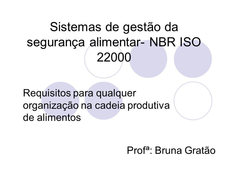 Sistemas de gestão da segurança alimentar- NBR ISO 22000 Requisitos para qualquer organização na cadeia produtiva de alimentos Profª: Bruna Gratão