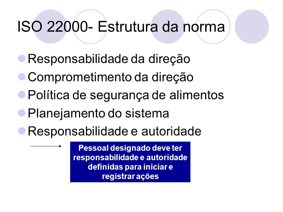 ISO 22000- Estrutura da norma Responsabilidade da direção Comprometimento da direção Política de segurança de alimentos Planejamento do sistema Respon