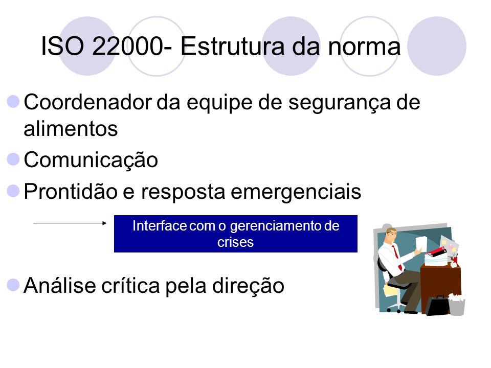 ISO 22000- Estrutura da norma Coordenador da equipe de segurança de alimentos Comunicação Prontidão e resposta emergenciais Análise crítica pela direç