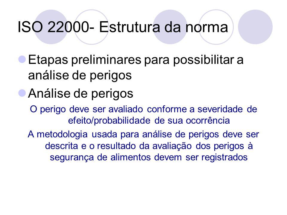 ISO 22000- Estrutura da norma Etapas preliminares para possibilitar a análise de perigos Análise de perigos O perigo deve ser avaliado conforme a seve