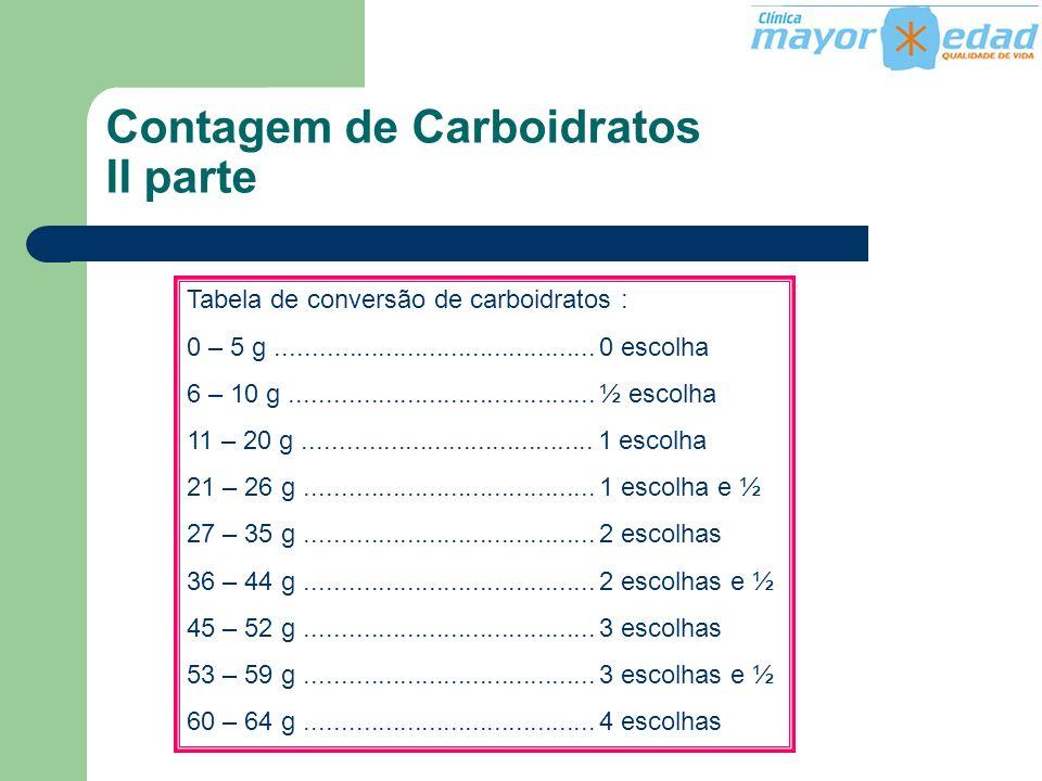 Tabela de conversão de carboidratos : 0 – 5 g............................................ 0 escolha 6 – 10 g..........................................