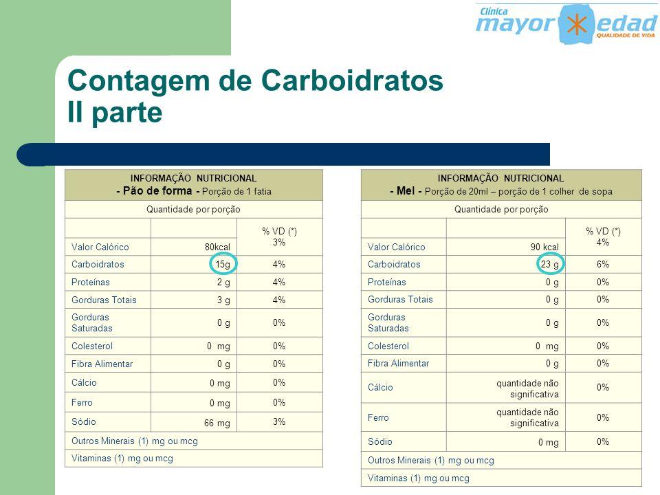 Contagem de Carboidratos II parte INFORMAÇÃO NUTRICIONAL - Pão de forma - Porção de 1 fatia Quantidade por porção.. % VD (*) 3% Valor Calórico80kcal C
