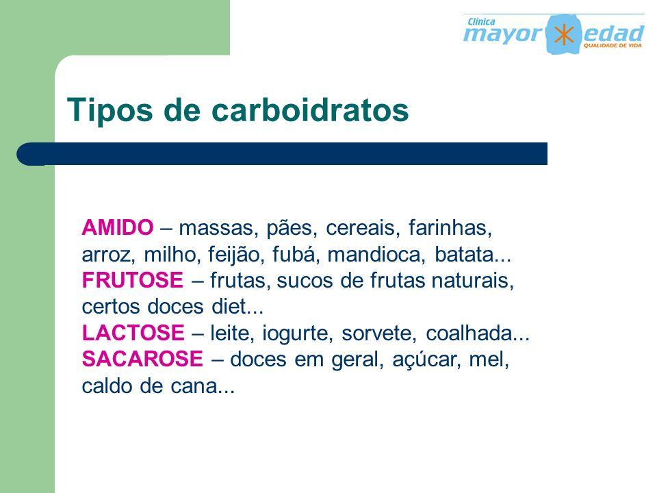 Tipos de carboidratos AMIDO – massas, pães, cereais, farinhas, arroz, milho, feijão, fubá, mandioca, batata... FRUTOSE – frutas, sucos de frutas natur
