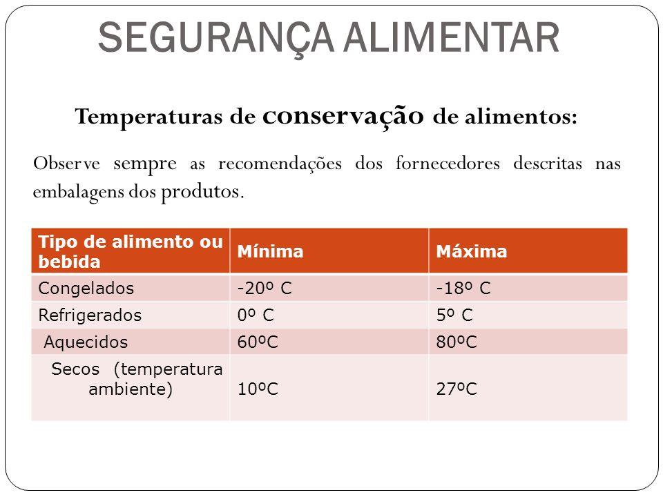 SEGURANÇA ALIMENTAR Tipo de alimento ou bebida Mínima Máxima Congelados-20º C -18º C Refrigerados0º C 5º C Aquecidos60ºC 80ºC Secos (temperatura ambie