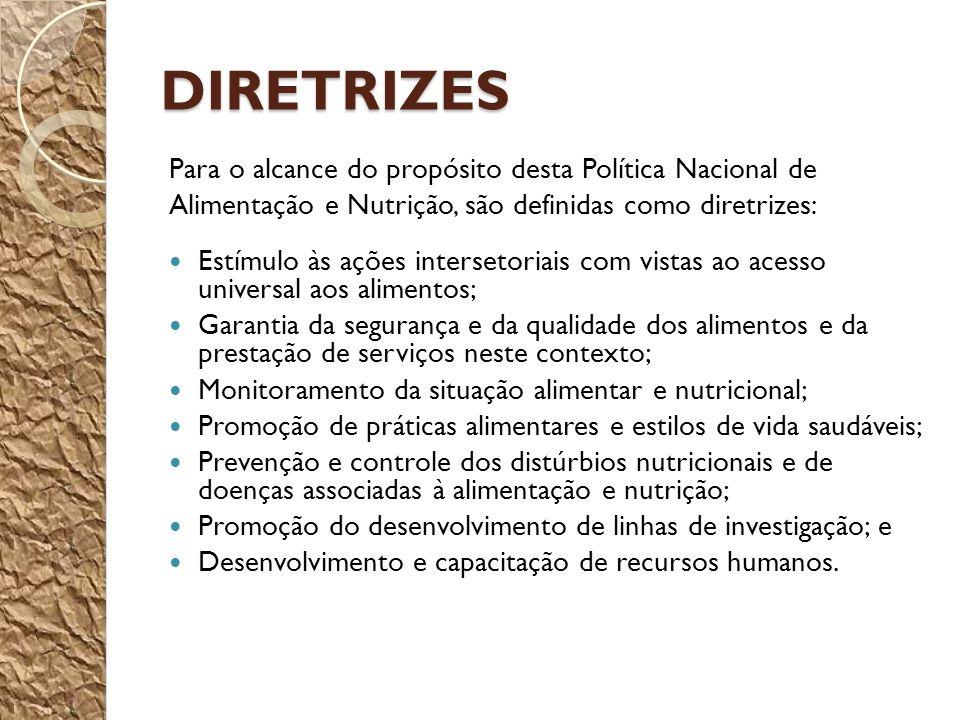 DIRETRIZES Para o alcance do propósito desta Política Nacional de Alimentação e Nutrição, são definidas como diretrizes: Estímulo às ações intersetori