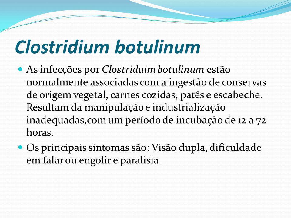 Clostridium botulinum As infecções por Clostriduim botulinum estão normalmente associadas com a ingestão de conservas de origem vegetal, carnes cozida