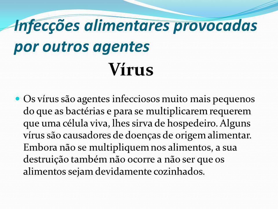 Infecções alimentares provocadas por outros agentes Os vírus são agentes infecciosos muito mais pequenos do que as bactérias e para se multiplicarem r
