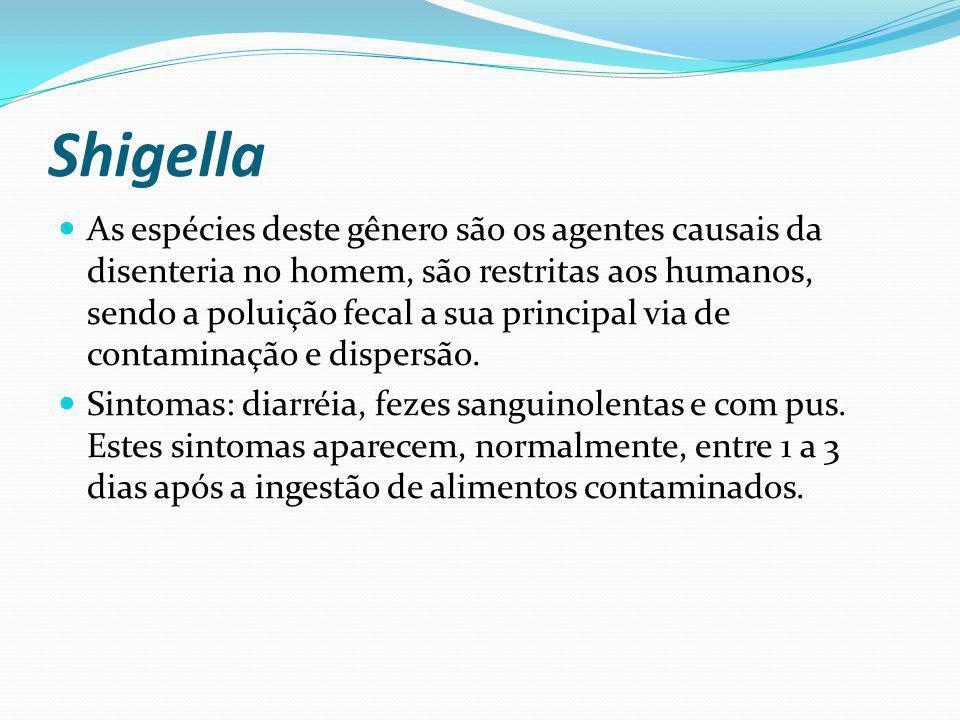 Shigella As espécies deste gênero são os agentes causais da disenteria no homem, são restritas aos humanos, sendo a poluição fecal a sua principal via