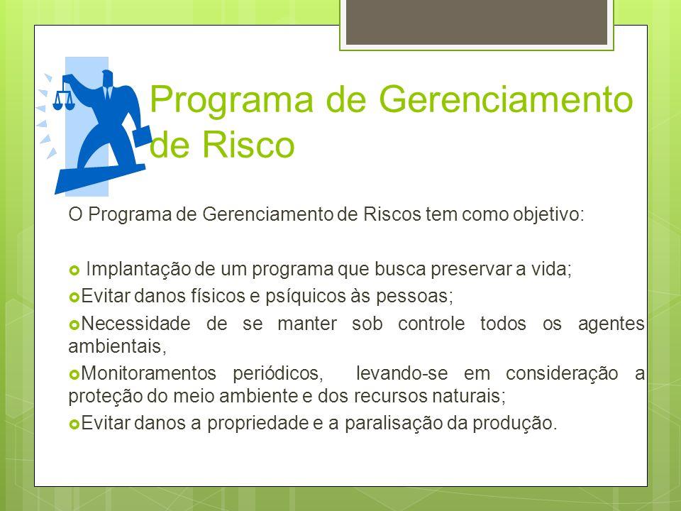 Programa de Gerenciamento de Risco O Programa de Gerenciamento de Riscos tem como objetivo: Implantação de um programa que busca preservar a vida; Evi