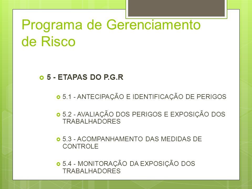 Programa de Gerenciamento de Risco 5 - ETAPAS DO P.G.R 5.1 - ANTECIPAÇÃO E IDENTIFICAÇÃO DE PERIGOS 5.2 - AVALIAÇÃO DOS PERIGOS E EXPOSIÇÃO DOS TRABAL