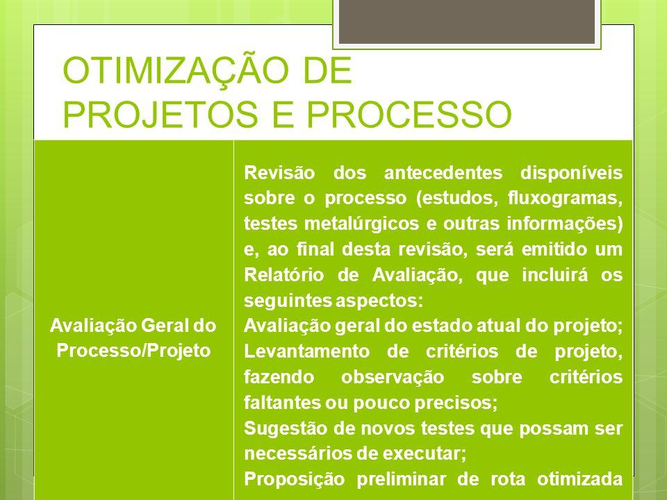 Avaliação Geral do Processo/Projeto Revisão dos antecedentes disponíveis sobre o processo (estudos, fluxogramas, testes metalúrgicos e outras informaç