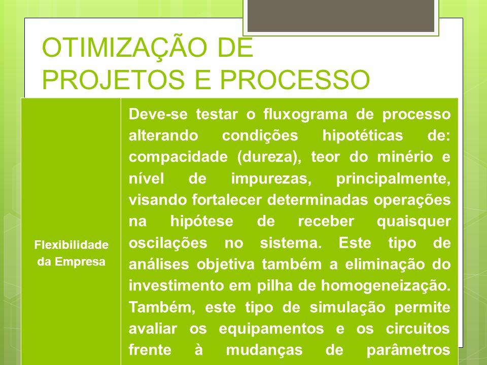 OTIMIZAÇÃO DE PROJETOS E PROCESSO Flexibilidade da Empresa Deve-se testar o fluxograma de processo alterando condições hipotéticas de: compacidade (du
