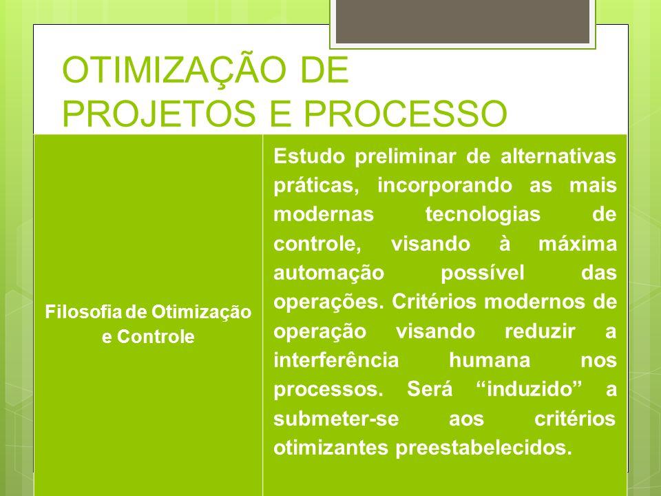 OTIMIZAÇÃO DE PROJETOS E PROCESSO Filosofia de Otimização e Controle Estudo preliminar de alternativas práticas, incorporando as mais modernas tecnolo