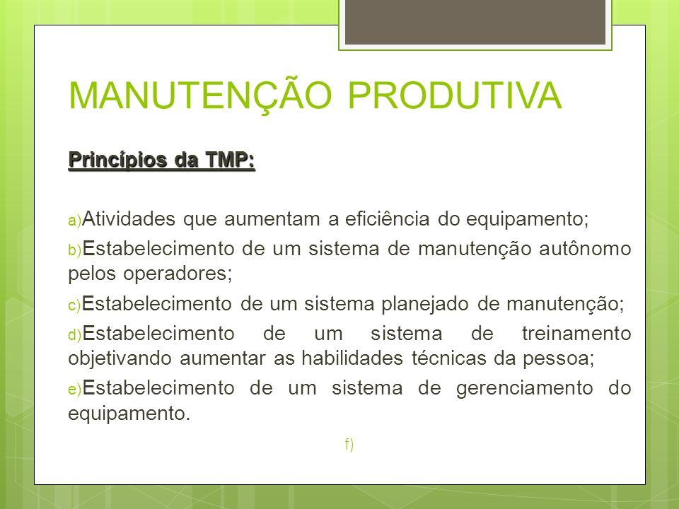 MANUTENÇÃO PRODUTIVA Princípios da TMP: a) Atividades que aumentam a eficiência do equipamento; b) Estabelecimento de um sistema de manutenção autônom