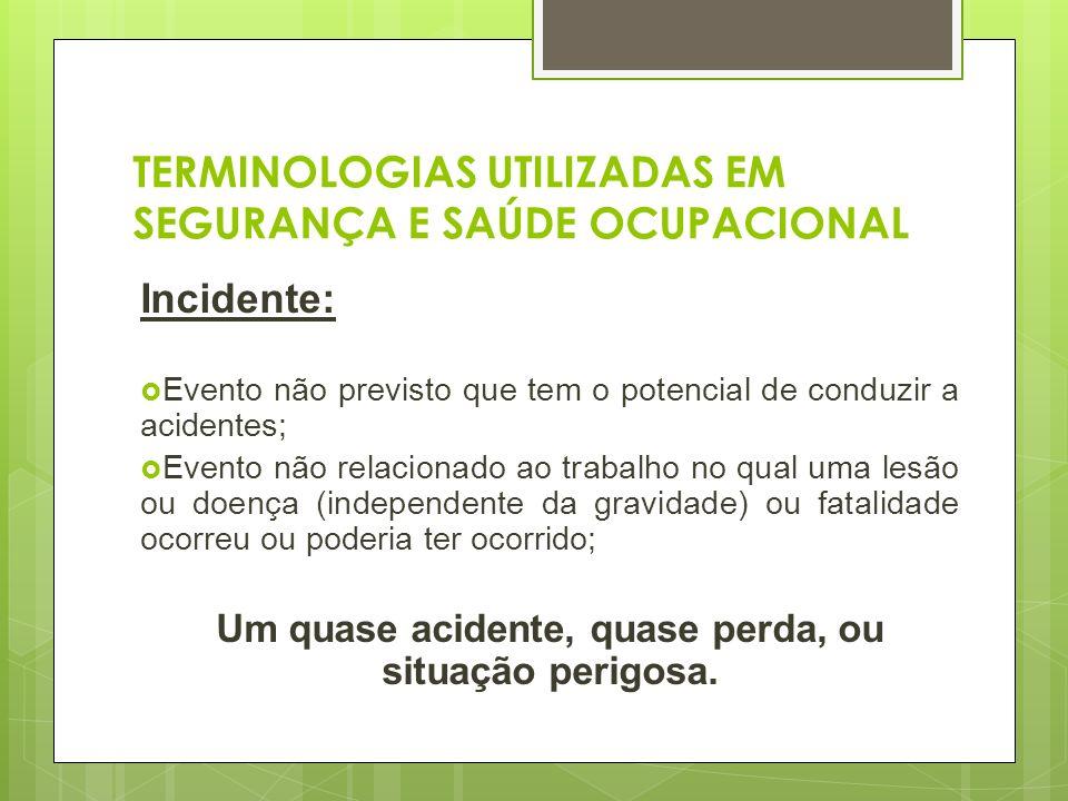 TERMINOLOGIAS UTILIZADAS EM SEGURANÇA E SAÚDE OCUPACIONAL Incidente: Evento não previsto que tem o potencial de conduzir a acidentes; Evento não relac