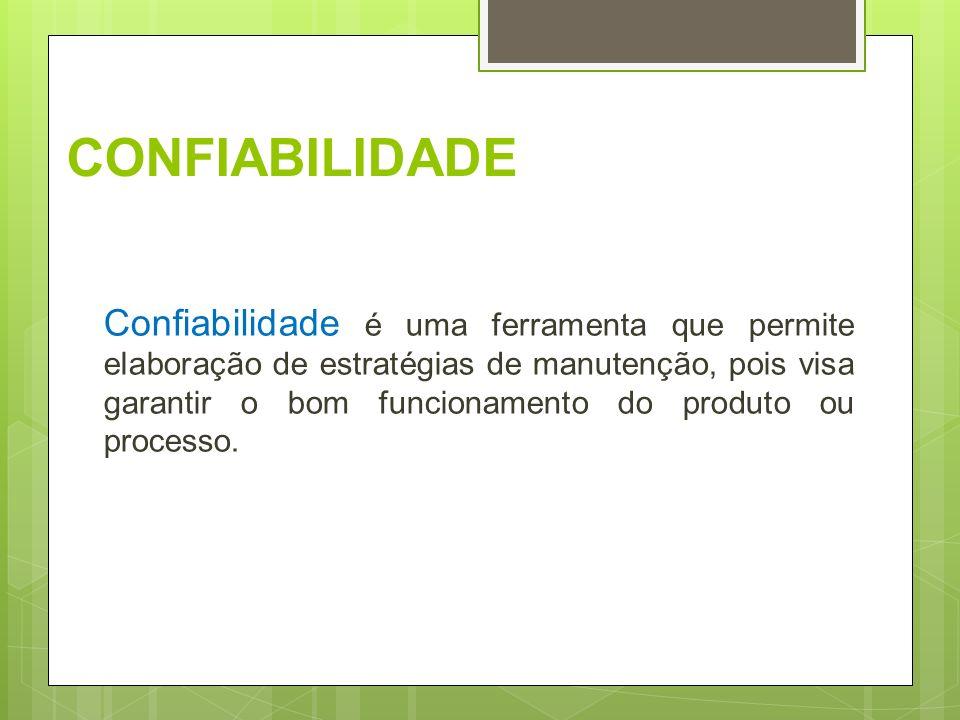 CONFIABILIDADE Confiabilidade é uma ferramenta que permite elaboração de estratégias de manutenção, pois visa garantir o bom funcionamento do produto
