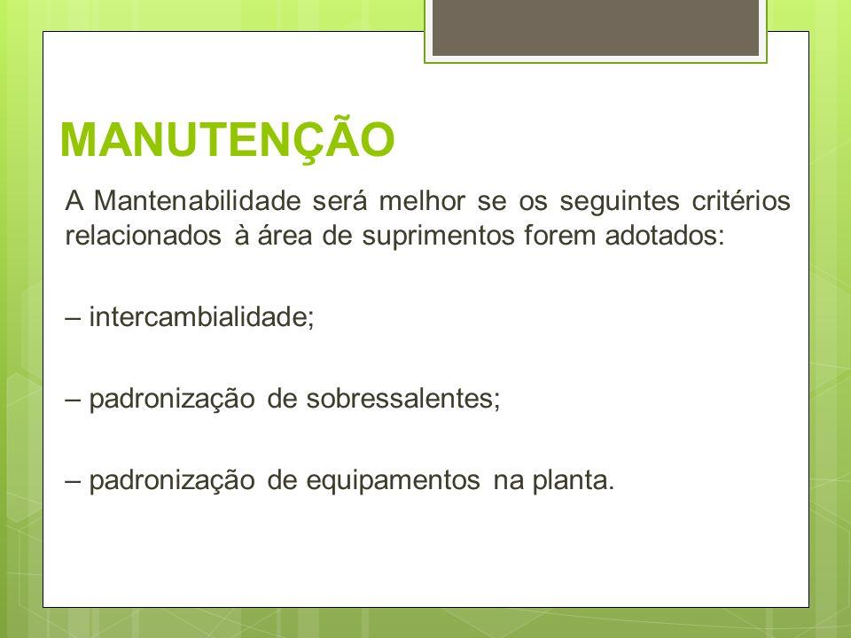 MANUTENÇÃO A Mantenabilidade será melhor se os seguintes critérios relacionados à área de suprimentos forem adotados: – intercambialidade; – padroniza