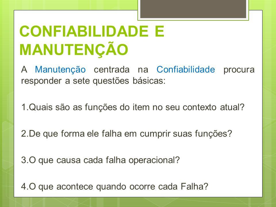 CONFIABILIDADE E MANUTENÇÃO A Manutenção centrada na Confiabilidade procura responder a sete questões básicas: 1.Quais são as funções do item no seu c