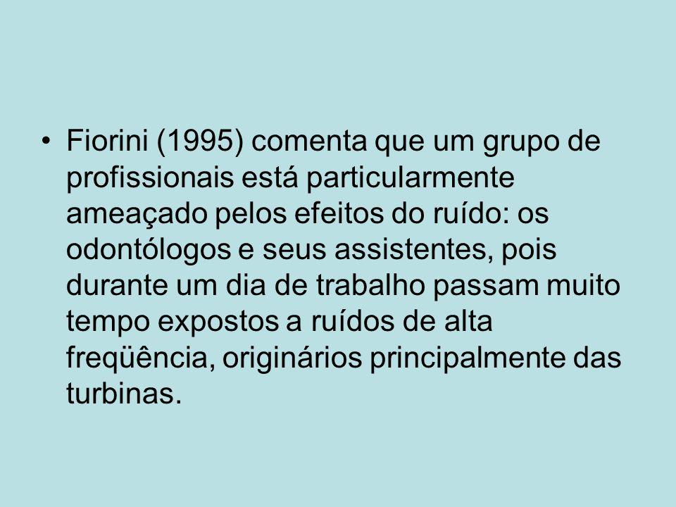 Fiorini (1995) comenta que um grupo de profissionais está particularmente ameaçado pelos efeitos do ruído: os odontólogos e seus assistentes, pois durante um dia de trabalho passam muito tempo expostos a ruídos de alta freqüência, originários principalmente das turbinas.