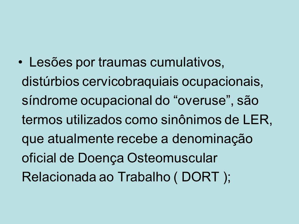 Lesões por traumas cumulativos, distúrbios cervicobraquiais ocupacionais, síndrome ocupacional do overuse, são termos utilizados como sinônimos de LER, que atualmente recebe a denominação oficial de Doença Osteomuscular Relacionada ao Trabalho ( DORT );
