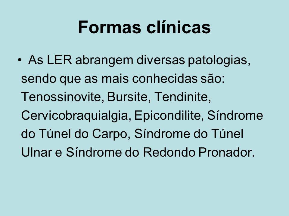 Formas clínicas As LER abrangem diversas patologias, sendo que as mais conhecidas são: Tenossinovite, Bursite, Tendinite, Cervicobraquialgia, Epicondilite, Síndrome do Túnel do Carpo, Síndrome do Túnel Ulnar e Síndrome do Redondo Pronador.