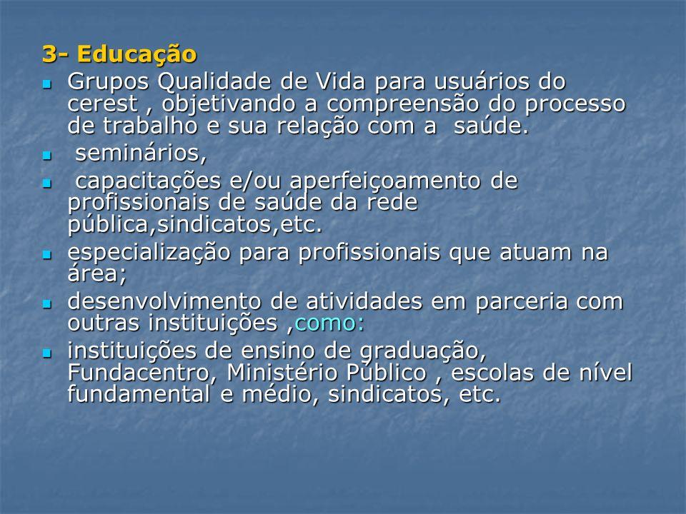 3- Educação Grupos Qualidade de Vida para usuários do cerest, objetivando a compreensão do processo de trabalho e sua relação com a saúde. Grupos Qual