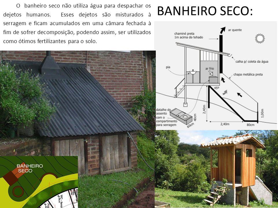 BANHEIRO SECO: O banheiro seco não utiliza água para despachar os dejetos humanos. Esses dejetos são misturados à serragem e ficam acumulados em uma c
